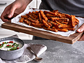 Sweet potato fries with a chilli and coriander dip