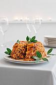 Timballo di maccheroni (pasta timbale from Naples, Italy)