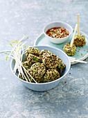 Quinoa balls with edamame and umeboshi