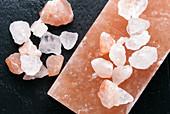 Himalayan pink rock salt rocks and slab