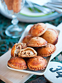 Mini pies filled with tofu, herbs and olives