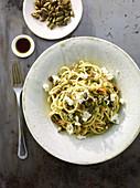 Quinoa spaghetti with zucchini cream