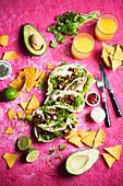 Tacos with spicy beef coriander garlic sauce
