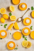 Tartlets with lemon curd and meringues