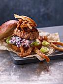 Double pork slaw burgers