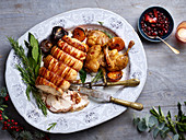 Christmas maple-glazed turkey with confit duck legs
