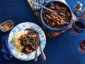 Rich venison and red wine casserole