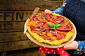Red and yellow pepper Tarte Tatin