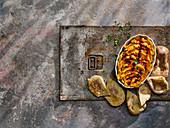 Roast carrot harissa humous with pita bread