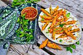 Tempura okra with sweet chilli dipping sauce