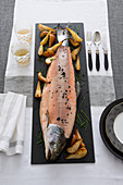 Poached salmon with fried pears and horseradish sauce