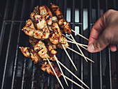 Sate skewers on a grill rack