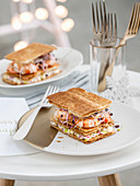 Shrimp and vegetable millefeuille