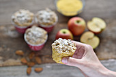 Vegan polenta apple and almond muffins with oat crumbles