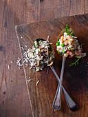 Prawn and lemon risotto, Chicken and smoked garlic risotto