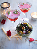 Pomegranate crush cocktail, Garlic and chilli olives