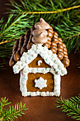 Christmas gingerbread house decorated with candies and royal icing