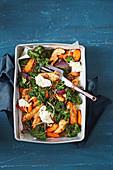 Harissa chicken, lentil and kale tray bake
