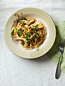 Pork and leek stroganoff with linguine