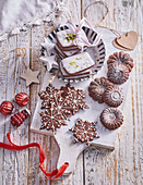 3 sorts of Christmas cookies made from cocoa dough