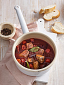 Beef goulash with beetroot