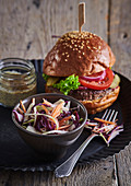 Beef burger with salad Coleslaw