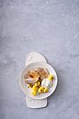 Roast pork with a yoghurt and horseradish dressing