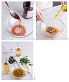 A vinaigrette with red wine vinegar being made