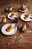 Panettone flans with Grand Marnier chocolate sauce and panettone toast