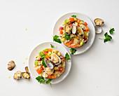 Warm clam panzanella