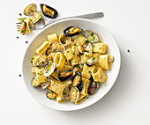 Calamarata pasta with mussels and clams