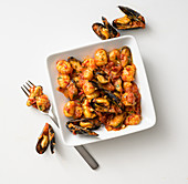 Gnocchi with a spicy mussel sauce