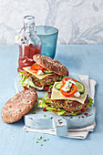 Vegetable burgers with cheese and feta cream