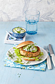 Salmon burger with cucumber