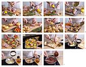 Lammbraten mit Hasselback-Kartoffeln und Möhren zubereiten