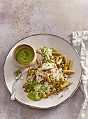 Gluten-free pasta with mung bean pesto