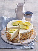 Lime cheesecake with almonds