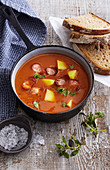 Frankfurter soup with sausages