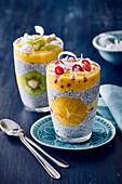 Chia seed pudding and mango puree