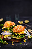 Vegetable burgers with asparagus, avocado, zucchini and eggs