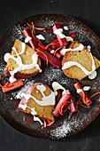 Spiced condensed milk cake with roast rhubarb