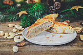 Puff pastry strudel with a nut filling for Christmas