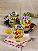 Layered salad with feta cheese and millet
