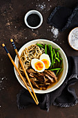Ramen with duck breast, green beans and egg