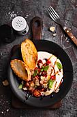 Tomato salad with Greek yogurt and toast