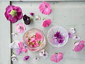 Blüten von Stockrose, Malve und Eibisch und selbst gemachtes Malvengesichtswasser