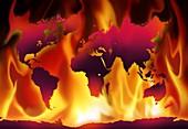 Global warming, conceptual illustration