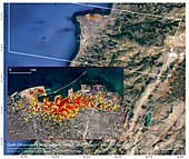 Damage from Beirut explosion, August 2020, satellite images