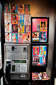 Sex worker cards in public phone box