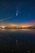 Comet NEOWISE reflected in lake